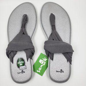 Sanuk Gray Silver Metallic Yoga Sling Sandals
